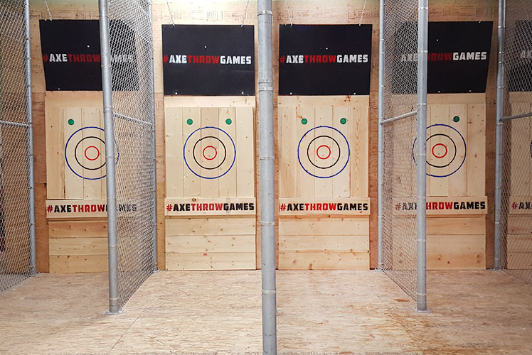 Axe throwing lanes inside of Axe Games Calgary