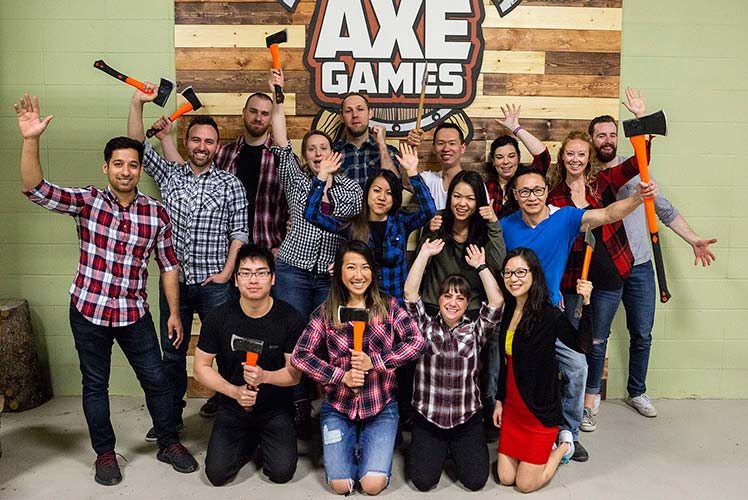Calgary Team Building at the Axe Games facility